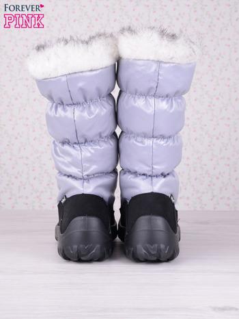 Szare ciepłe pikowane śniegowce z membraną na suwak                                  zdj.                                  3