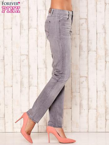 Szare dopasowane spodnie ze stretchem                                  zdj.                                  3