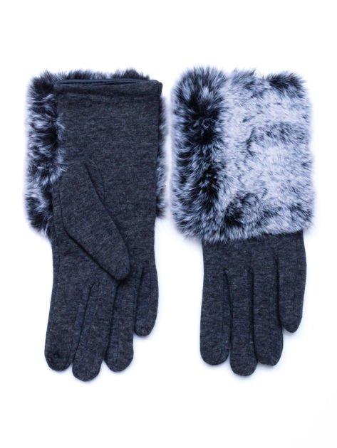 Szare eleganckie rękawiczki z futerkiem