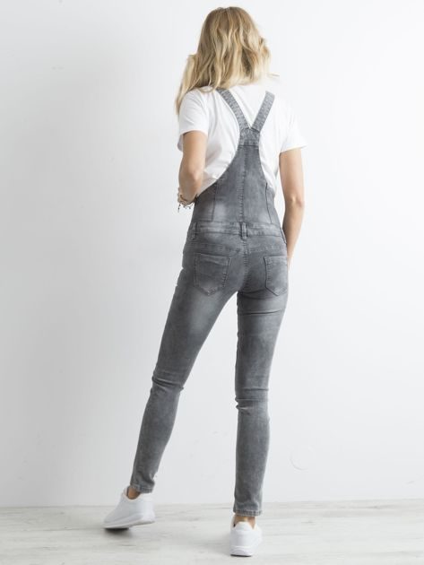 Szare jeansowe ogrodniczki                              zdj.                              2