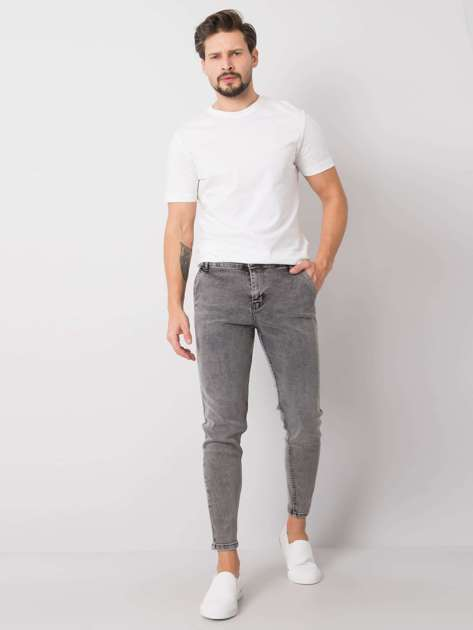 Szare jeansy męskie slim fit Bennett LIWALI