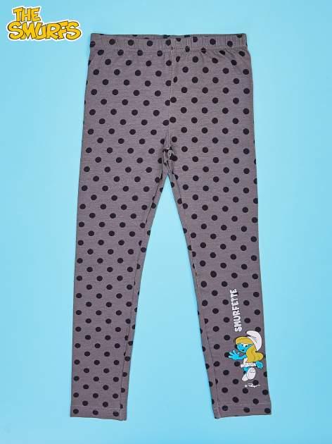 Szare legginsy w groszki dla dziewczynki SMERFY                                  zdj.                                  1