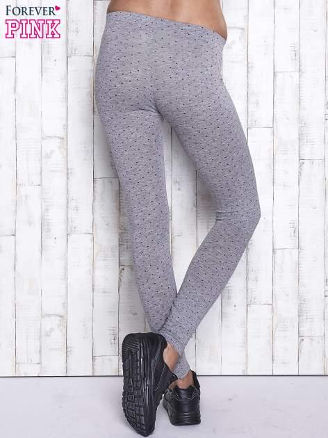 Szare melanżowe legginsy w kropki                                  zdj.                                  3