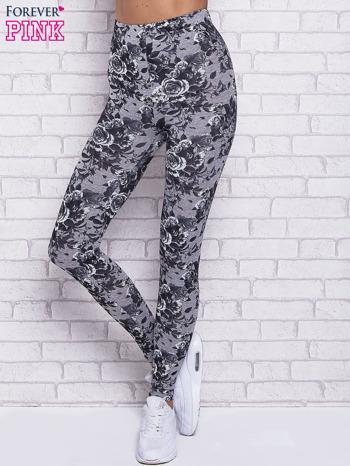 Szare melanżowe legginsy w róże                                  zdj.                                  1