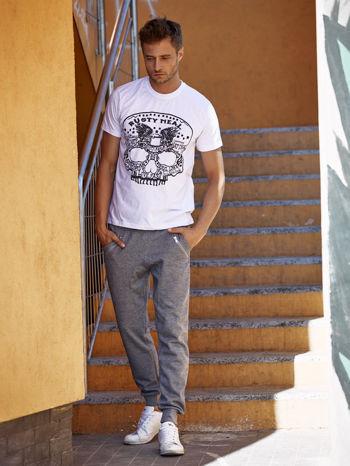 Szare melanżowe spodnie męskie z zasuwanymi kieszeniami                                  zdj.                                  2