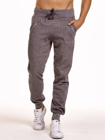 Szare melanżowe spodnie męskie z zasuwanymi kieszeniami