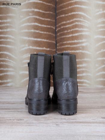 Szare skórzane botki faux leather na suwak, z traktorową podeszwą                                  zdj.                                  4