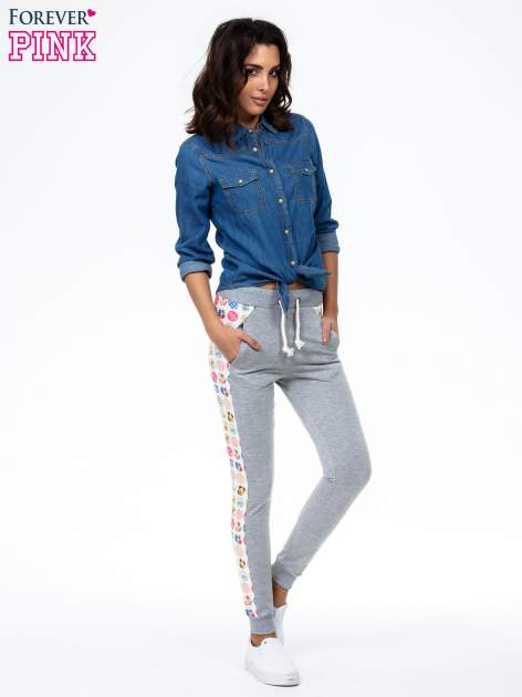 Szare spodnie dresowe z kolorowym lampasem                                  zdj.                                  2