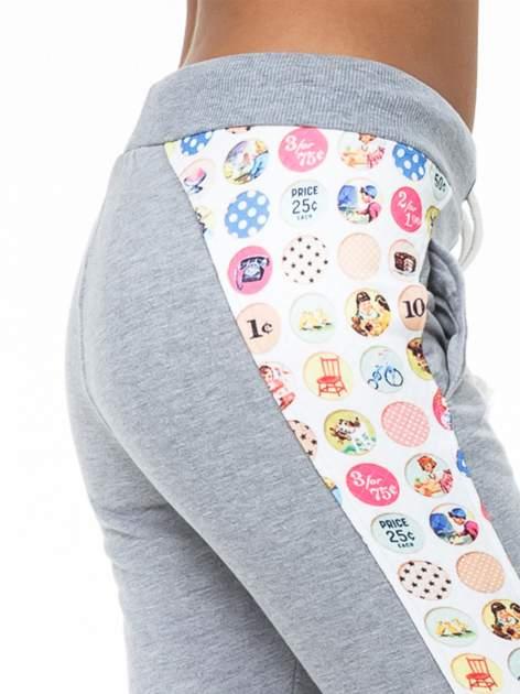 Szare spodnie dresowe z kolorowym lampasem                                  zdj.                                  5