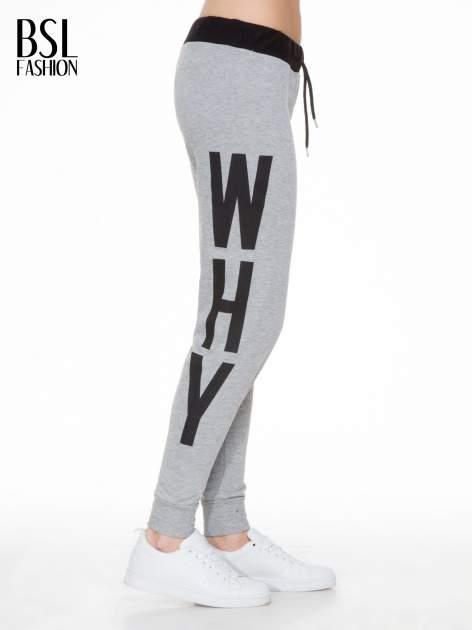Szare spodnie dresowe z nadrukiem WHY NOT z boku nogawek                                  zdj.                                  3