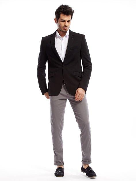 Szare spodnie męskie chinosy o prostym kroju                                  zdj.                                  4