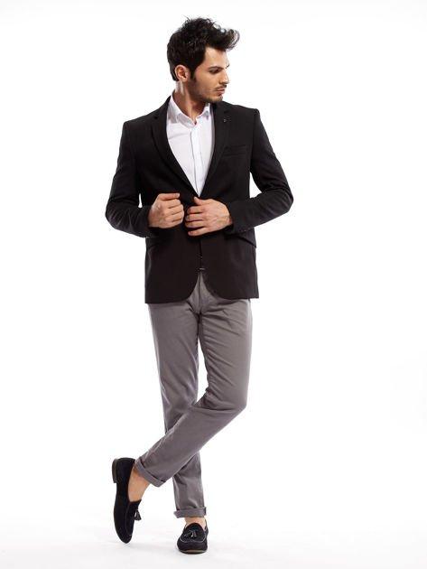 Szare spodnie męskie chinosy o prostym kroju                              zdj.                              7