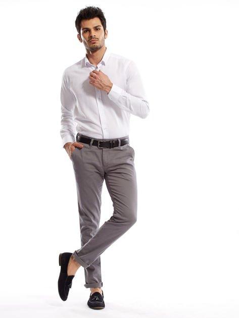 Szare spodnie męskie chinosy o prostym kroju                              zdj.                              9