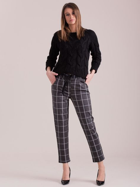 Szare spodnie w kratę                              zdj.                              4