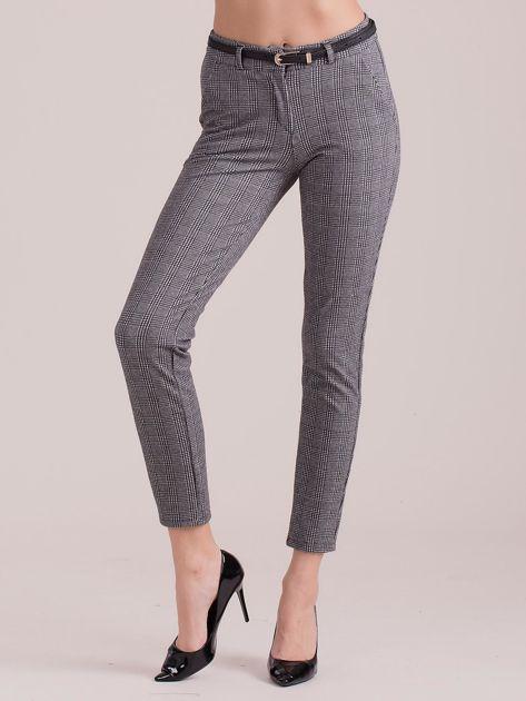 Szare spodnie w kratkę z paskiem                              zdj.                              1