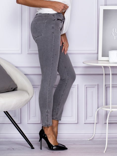 Szare spodnie z suwakami na nogawkach                                  zdj.                                  3