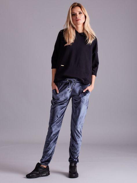 Szare welurowe spodnie z troczkami                              zdj.                              4