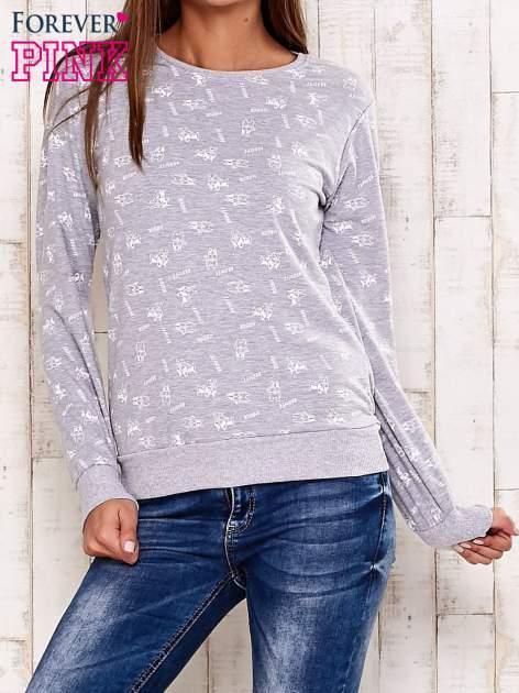 Szaro-biała bluza motyw buldożków                                  zdj.                                  1