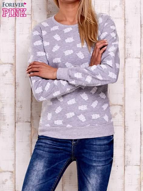 Szaro-biała bluza z motywem sów