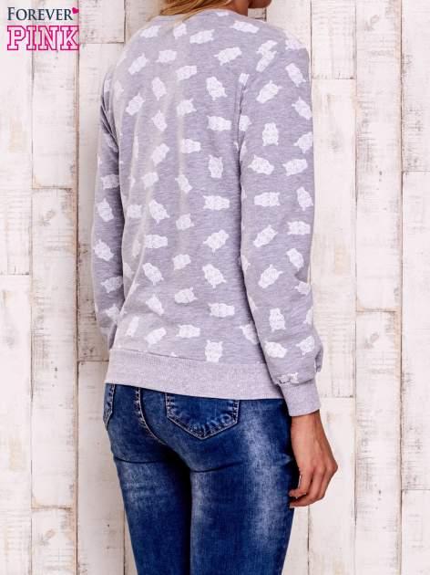Szaro-biała bluza z motywem sów                                  zdj.                                  2