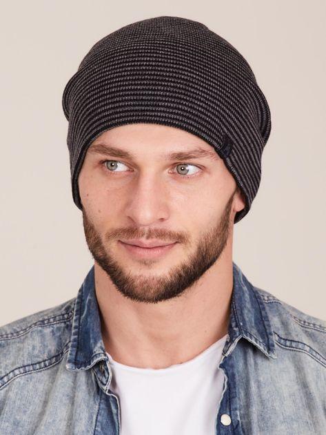 Szaro-czarna czapka męska w drobne paski                              zdj.                              1