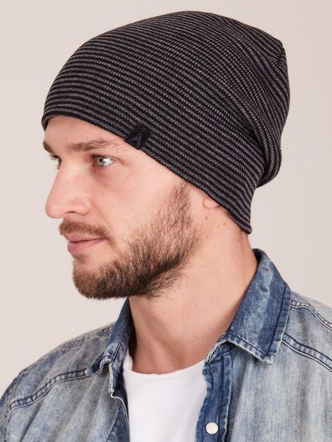 Szaro-czarna czapka męska w drobne paski                              zdj.                              2