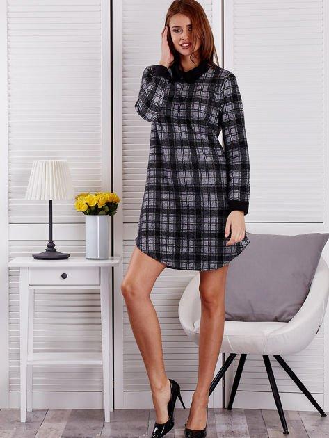 Szaro-czarna sukienka w kratę                                  zdj.                                  4