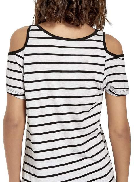Szaro-czarna sukienka w paski cut out shoulder                                  zdj.                                  8