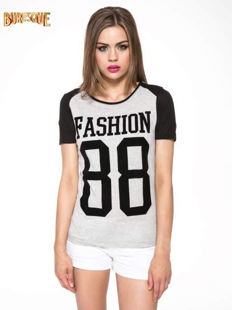Szaro-czarny t-shirt z nadrukiem FASHION 88                                  zdj.                                  11