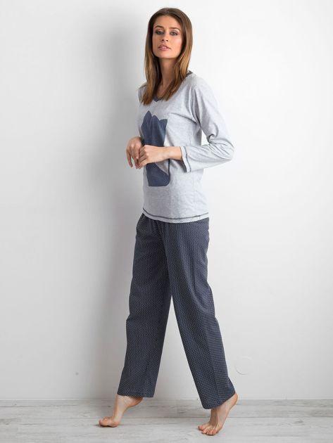Szaro-granatowa piżama damska dwuczęściowa                              zdj.                              2