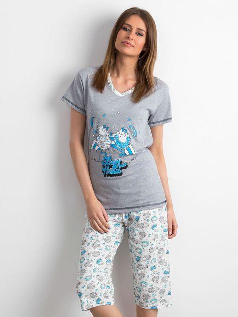 Szaro-niebieska piżama w owce                              zdj.                              1