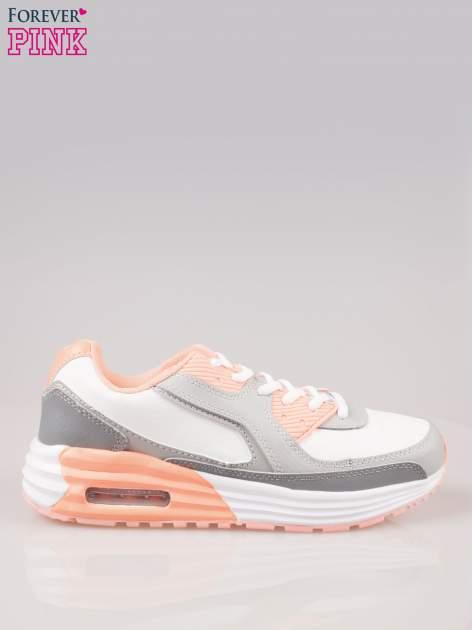 Szaro-pomarańczowe buty sportowe z poduszką powietrzną