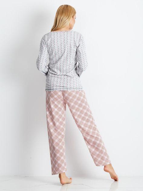 Szaro-różowa piżama Bows                              zdj.                              2