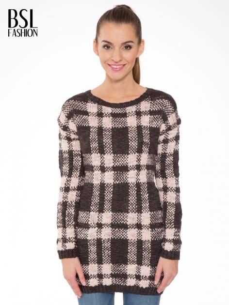 Szaro-różowy długi sweter w kratę                                  zdj.                                  1