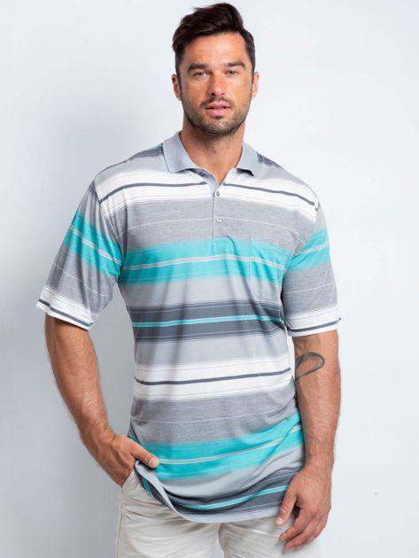 Szaro-turkusowa koszulka polo męska plus size Elevate