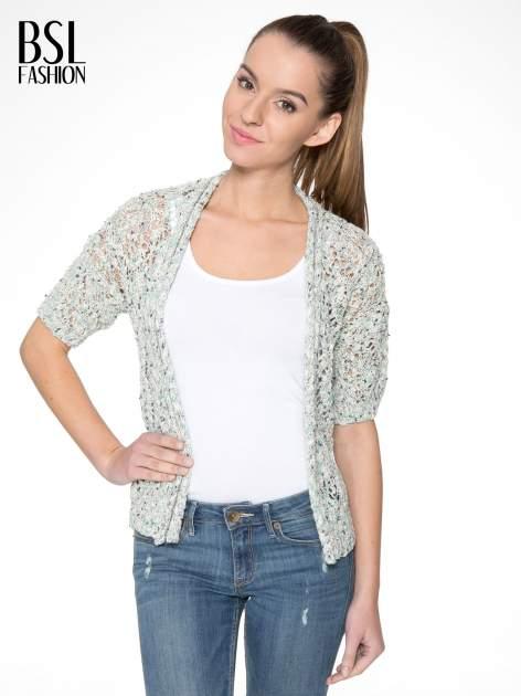 Szarozielony dziergany sweter typu kardigan z krótkim rękawem                                  zdj.                                  1