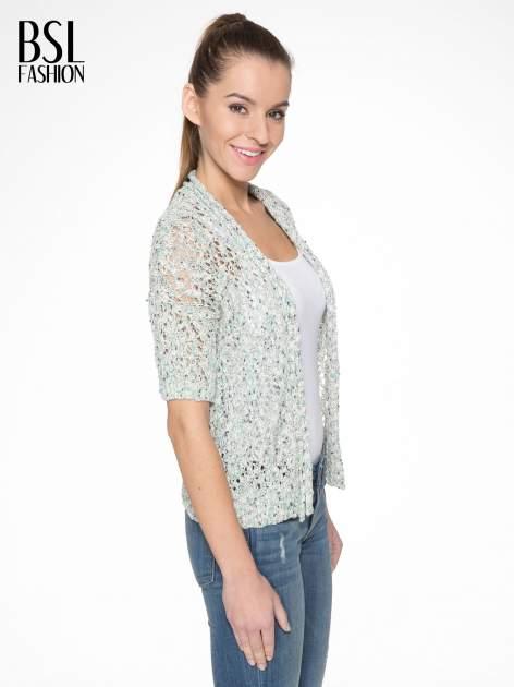 Szarozielony dziergany sweter typu kardigan z krótkim rękawem                                  zdj.                                  3