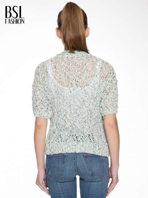 Szarozielony dziergany sweter typu kardigan z krótkim rękawem                                  zdj.                                  4