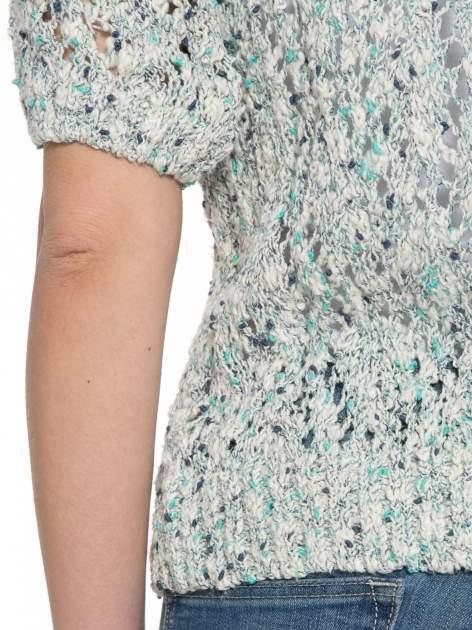 Szarozielony dziergany sweter typu kardigan z krótkim rękawem                                  zdj.                                  8