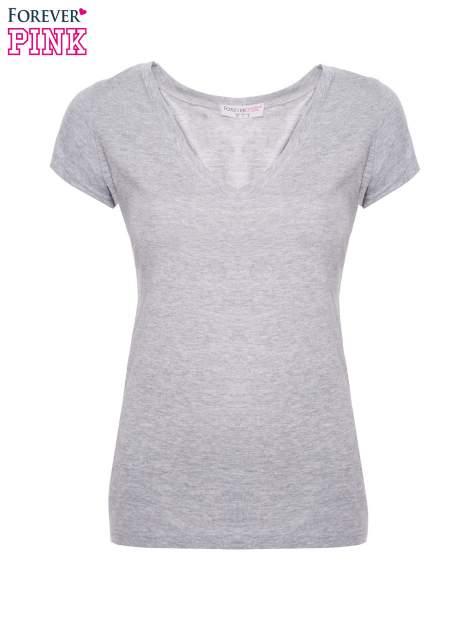 Szary basicowy t-shirt z dekoltem w serek                                  zdj.                                  2