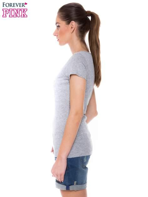 Szary basicowy t-shirt z dekoltem w serek                                  zdj.                                  3