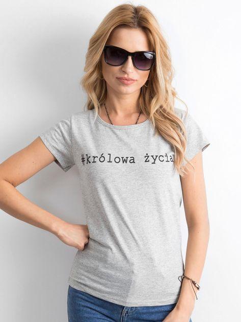 Szary damski t-shirt z napisem                              zdj.                              1