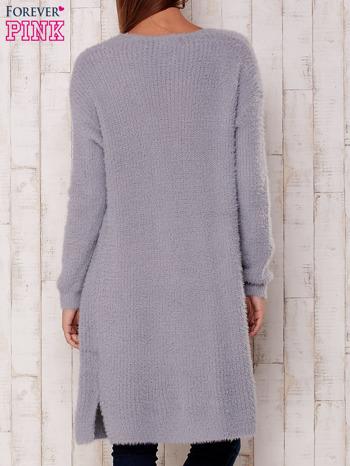 Szary długi puszysty sweter                                  zdj.                                  5