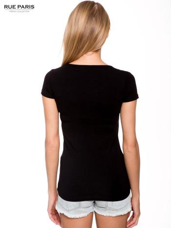 Czarny gładki t-shirt                                  zdj.                                  3
