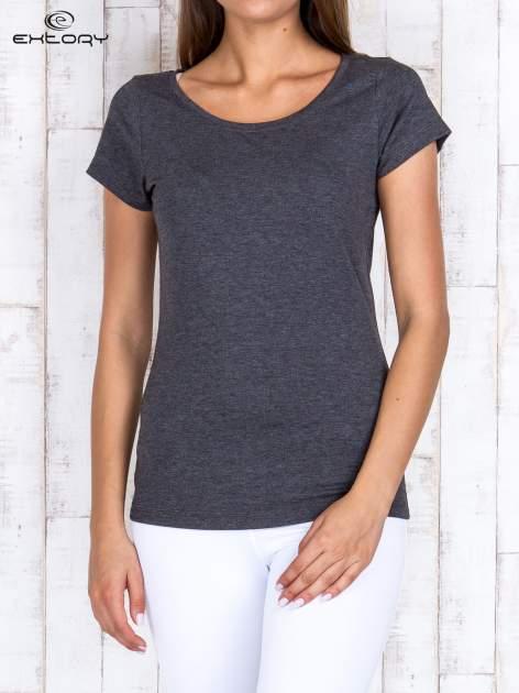 Szary melanżowy damski t-shirt sportowy basic PLUS SIZE