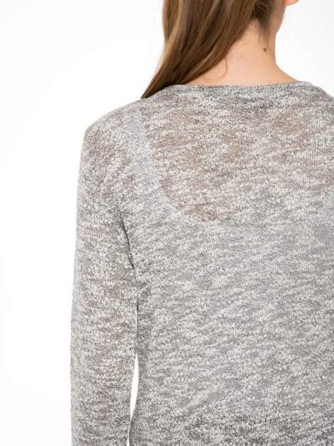 Szary melanżowy sweter typu długi kardigan                                  zdj.                                  8