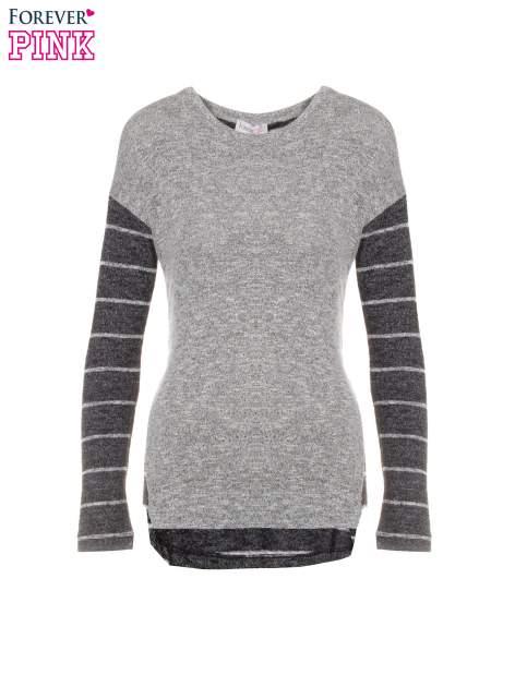 Szary melanżowy sweter z pasiastym tyłem i rękawami                                  zdj.                                  5