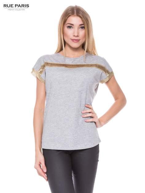 Szary melanżowy t-shirt ze złotą aplikacją                                  zdj.                                  1