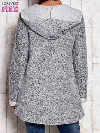 Szary otwarty sweter z kapturem                                  zdj.                                  4