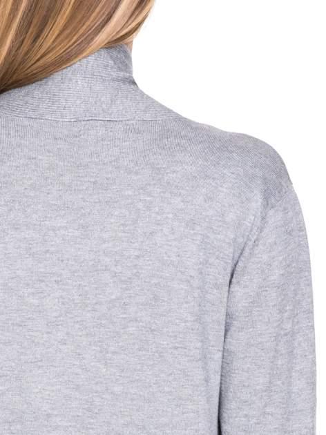Szary sweter kardigan z podwijanym rękawami z guziczkami                                  zdj.                                  8
